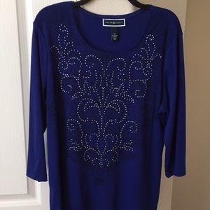 Karen Scott royal blue top with bling